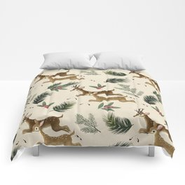 winter deer // repeat pattern Comforters