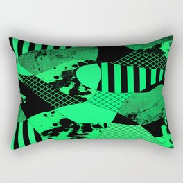 Black And Teal - Abstract, geometric, multi patterned artwork Rectangular Pillow