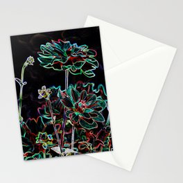 ABSTRACT DAHLIA FLOWERS  Stationery Cards
