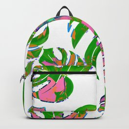 Botanical forest green pink coral watercolor tropical monster leaves Backpack