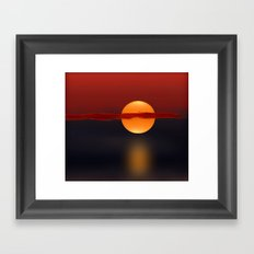 Sun on Red and Blue Framed Art Print