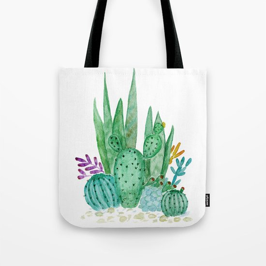 Cacti and succulents . Watercolor . Tote Bag
