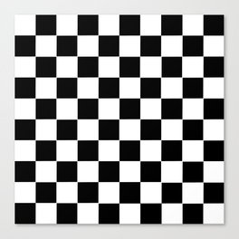 Checker Cross Squares Black & White Canvas Print