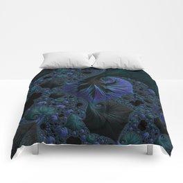 Blue and Black Fractal Comforters