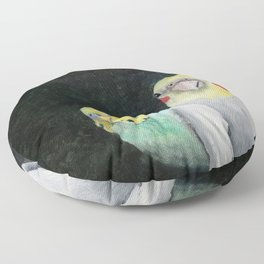 Bird Theater Parakeet and Cockatiel Painting Floor Pillow