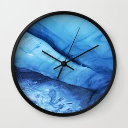 Blue ice of Blackcomb Glacier Ice Cave Wall Clock