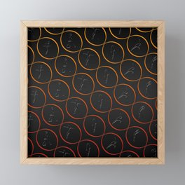 Pattern with sport shapes and orange circles Framed Mini Art Print