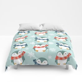 Winter penguins pattern Comforters