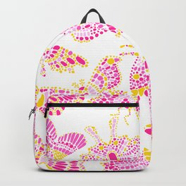 Butterfly Pattern Pink Gold White Backpack