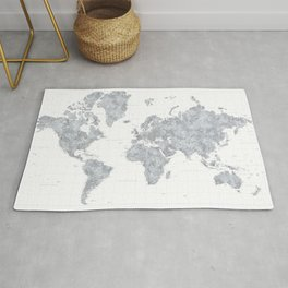 """Gray watercolor highly detailed world map, square, """"Jimmy"""" Rug"""