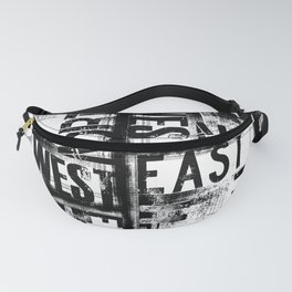 East South North West Black White Grunge Typography Fanny Pack