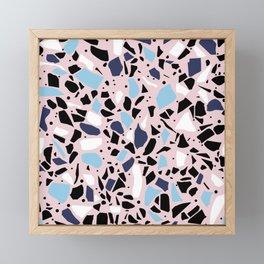 Terrazzo Spot Blues on Blush Framed Mini Art Print