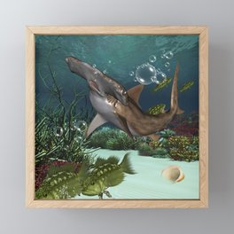 Awesome hammerhead in the deep ocean Framed Mini Art Print