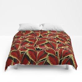 Red Leaves On Black Pattern Comforters