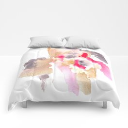 Watercolor Pink Black Gold Flow | [dec-connect] 42. fallen Comforters