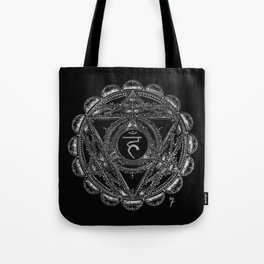 Black and White Throat Chakra Tote Bag