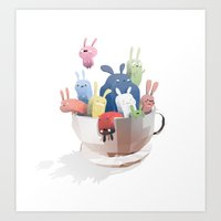 bunnies Art Prints featuring Bunnies by Reuno