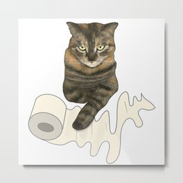 Sassy Cat, Master of Toilet Paper Metal Print