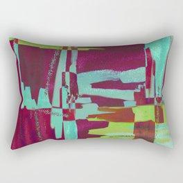 Raspberry Jam - Textured, abstract, raspberry, cyan and green painting Rectangular Pillow