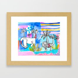Unlikely Friends Painting - Lion Dinosaur Palm Trees Framed Art Print