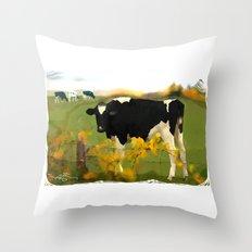 Cow Folk Throw Pillow