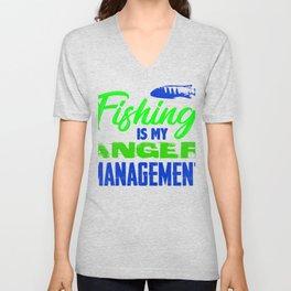 Fishing is my anger management 2 (2) Unisex V-Neck