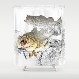 Largemouth Black Bass Fishing Art Shower Curtain