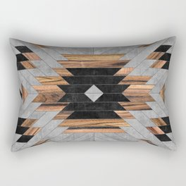 Urban Tribal Pattern No.6 - Aztec - Concrete and Wood Rechteckiges Kissen
