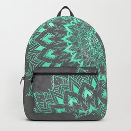Boho turquoise watercolor floral mandala on grey cement concrete Backpack
