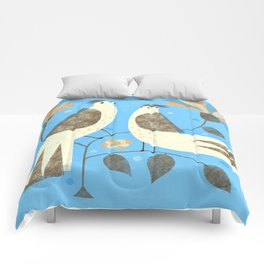 BIRDS ON BLUE Comforters