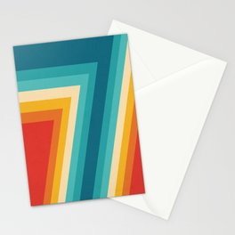 Colorful Retro Stripes  - 70s, 80s Abstract Design Stationery Cards