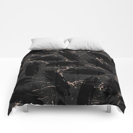 Abstract black rose gold glitter brushstrokes marble Comforters
