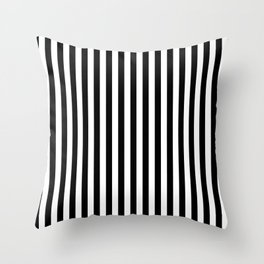 Vertical Stripes (Black & White Pattern) Throw Pillow
