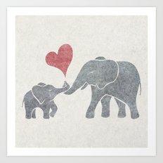 Elephant Hugs Art Print