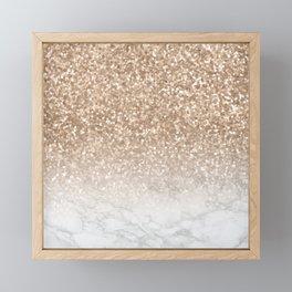 Sparkle - Gold Glitter and Marble Framed Mini Art Print