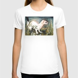 Winter stoat watercolor T-shirt