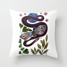 Moth & Snake Throw Pillow