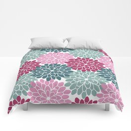 Petals in Rose, Maroon and Light and Dark Cyan Comforters