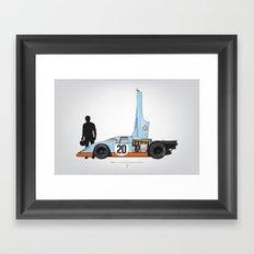 Outline Series N.º4, Steve McQueen, Porsche 917, Le Mans movie 1971 Framed Art Print