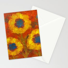 Sunflowers with a golden sun Stationery Cards