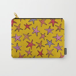 Starfishes in mustard background Carry-All Pouch