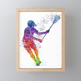 Lacrosse Girl Colorful Watercolor Sports Art Gift Framed Mini Art Print