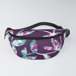 Watercolor Leaves Fill Purple Fanny Pack