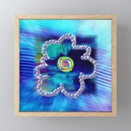 Blue and line flower Framed Mini Art Print
