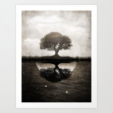 The lone Night reflex Art Print