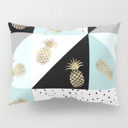 Pastel color block watercolor dots faux gold pineapple Pillow Sham
