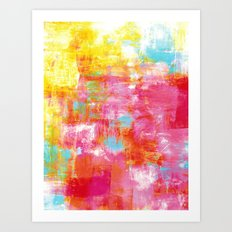 OFF THE GRID 2 Colorful Pink Pastel Neon Abstract Watercolor Acrylic Textural Art Painting Rainbow Art Print