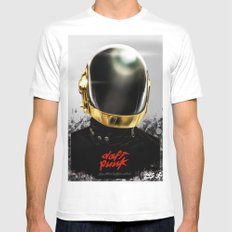 Daft Punk I MEDIUM White Mens Fitted Tee