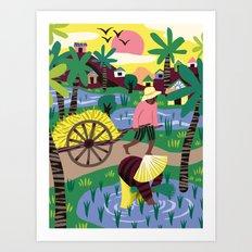 Ricefields Cambodia Art Print