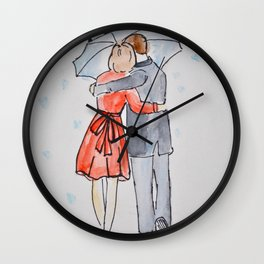 lovers in the rain Wall Clock